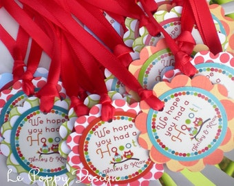 Owl Birthday Party Favor Tags Fully Assembled Decorations