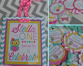 Chevron Owl Birthday Party Decorations Fully Assembled