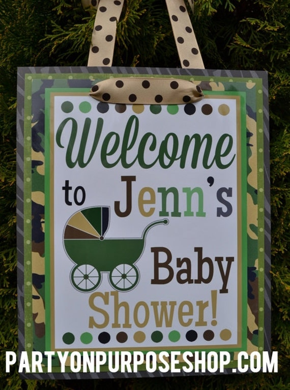camouflage baby shower decorations door sign