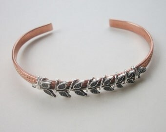 Patterned Copper Cuff With Wrapped Antique Silver Leaves - BoHo Chic Design - Nature Inspired - Mixed Metals