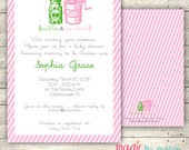 Digital Printable Doublesided Pickles and Ice cream baby shower Invitations