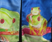 Family of Red Eyed Tree Frogs-- Hand painted frog portraits on silk