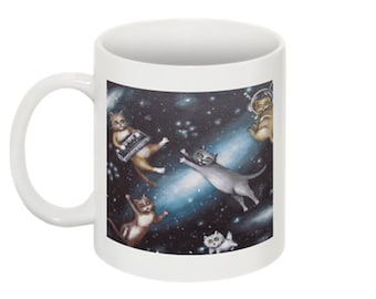 CATS in SPACE lowbrow new wave kitty cats in space double sided coffee mug by Nina Friday
