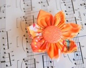 ORANGE Fabric Flower Hair Clip with Glitter Button Top - Colors of the Rainbow