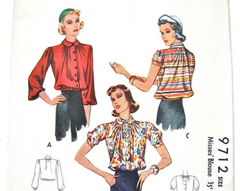 Uncut Vintage 1930s Sewing Pattern Misses'  Blouse  by McCall 9712  Bust  32