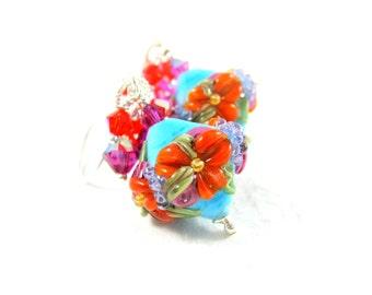 Tropical Flower Earrings, Floral Earrings, Blue Orange Pink Earrings, Lampwork Earrings, Nature Jewelry, Crystal Earrings - Astonishing