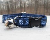 New York Yankees Cat  or Small Dog Collar with Option of Blue or Pink Backing