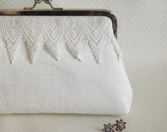 Ivory Bridal Clutch - Ivory Wedding Clutch - Bridesmaids Clutch - Elsa