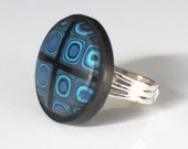 Polymer Clay Blue Klimt and Black Ring