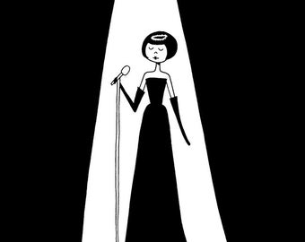 Emma sings a sweet song // Black and white dramatic nightclub singer drawing // art print