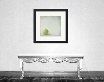 Apple green 1 - Green apple, nursery art decor, still life, crisp, ripe green apples, harvest kitchen fall wall decor Fine Art Print 5x5