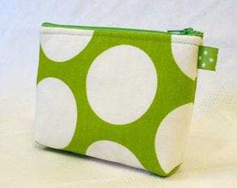 Polka Dot Gadget Pouch Cosmetic Bag Zipper Pouch Makeup Bag Cotton Zip Pouch Lime Green White MTO