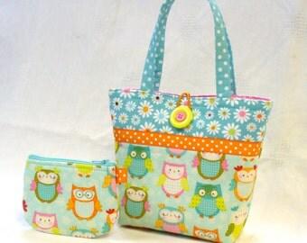Little Girls Purse Cute OWLS Mini Tote Bag and Coin Purse Set Handmade Pastel  Aqua Orange Pink MTO