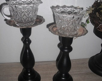 SALE ~ upcycled French Country Cottage Candle holders ... crystal silver and black .... candle sticks Charming