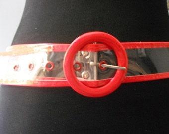 Vintage Clear and red Mod belt ... 42 half long