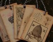6 vintage inspired bee tags, with crystal rhinestones.
