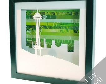 Seattle Space Needle shadowbox- made from recycled magazines, Seattle, landmark, Pacific Northwest, west coast, icon, tourist, design,unique