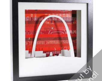 St. Louis Arch shadowbox- made from recycled magazines, Gateway Arch, Missouri, monument