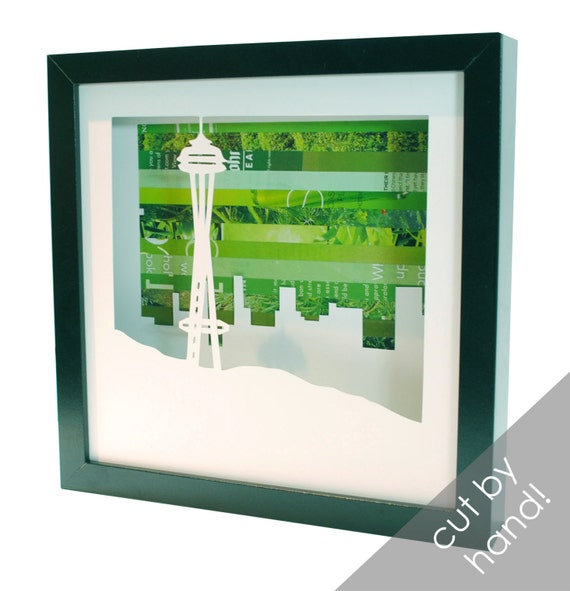 Seattle Space Needle shadowbox- made from recycled magazines, Seattle, landmark, Pacific Northwest