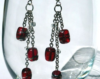 Silver and Red Cluster Earrrings