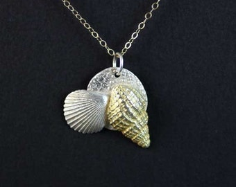 Sea Shell necklace / Sea Shell Pendant / Pure Silver and 22k Gold Sea Shell Necklace / Beach Jewelry