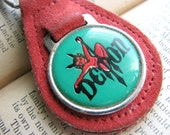 Vintage Demon Keychain - 1970s - Red Devil Pitchfork Red Suede Green - Collectible Car Car Keys Key Fob Key Chain