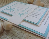 Reserved Listing for Jenny - Seafoam Starfish Beach Invitation, Ocean Wedding Invitation, Starfish Invitation, Save the Date