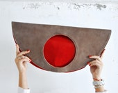 large Red leather circle bag, red grey handbag, large leather tote, rounded large clutch, double color bag