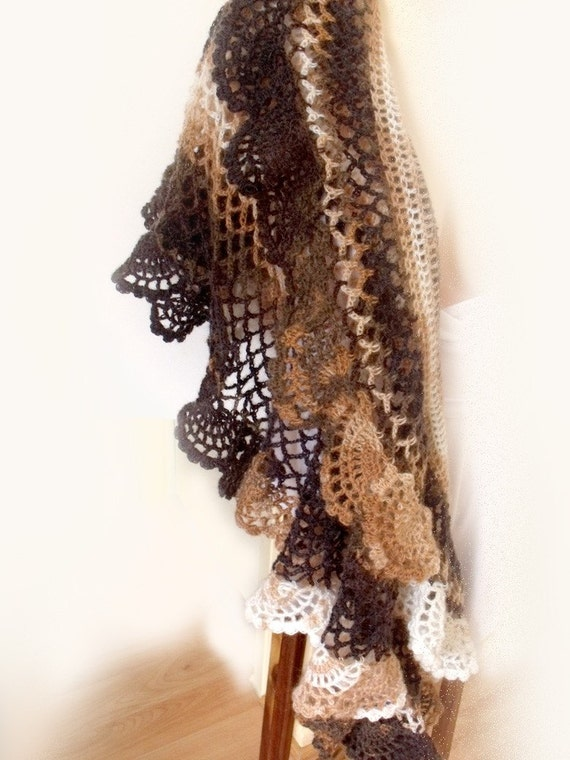 """Lace crochet shawl. Stole. Lace wrap. Crochet capelet. Brown white mohair wool blend. """"Roasted Almond Cappuccino"""""""