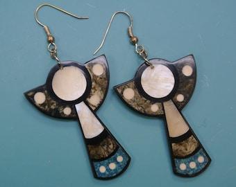 Rare beautiful collectible vintage 1980s unused angel earrings/earhangings designed by worldknown Hawaiian designer/artist Lee Sands