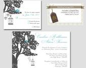 Digital Love Birds Wedding Invitation Package, DIY Wedding invitations, Printable wedding invitation, Reply Card W10