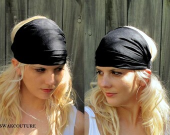 Black Wide Headband Wrap Womens Headband Yoga Head Wrap Head Scarf Cotton Jersey fitness Head Wrap - Choose Your Color