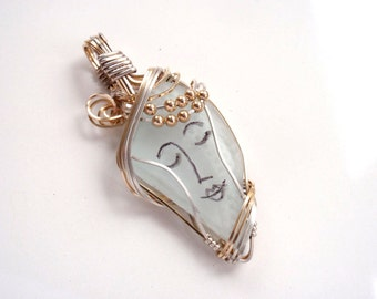 Unique Sea Glass Muse Jewelry Angel Face Pendant  and Gold and Silver Wire Wrap Pastel Color