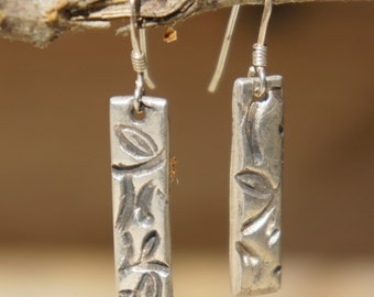 PMC Precious Metal Clay Silver Earrings