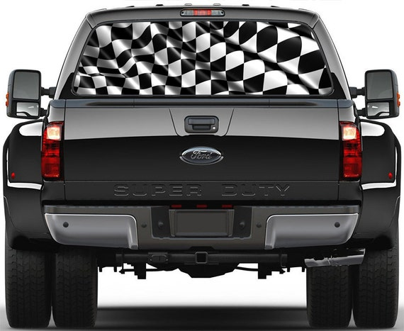 Checkered Flag Rear Window Graphic Decal Truck Suv Vans