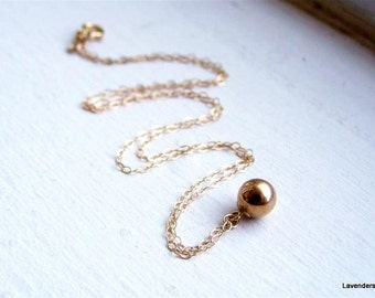 Gold Ball Necklace , Gold Necklace ,14k Gold Fill , Simple Everyday Jewelry