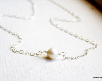 Pearl Necklace ,  Sterling Silver Necklace , Freashwater White Pearl Necklace , June Birthstone , Single Pearl Pendant