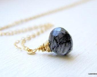 Tourmalinated Quartz Necklace , Black Rutilated Quartz Necklace ,  Simple Gold  Necklace , Gemstone necklace , Handmade