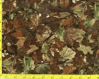 Woodland Camo Brown and Green Leaves Quilting Fabric by the yard 174