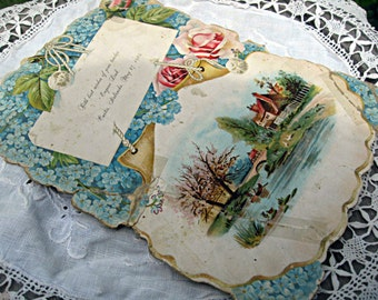 Antique victorian card, Sunday school card, victorian ephemera, victorian era card, floral victorian card antique floral card religious card