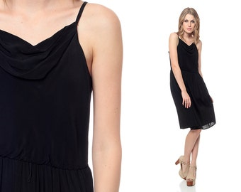 SALE Black Party Dress 70s Slouchy COWL Neck Spaghetti Strap 1970s Disco High Waisted Grecian Drape Vintage Knee Length Medium