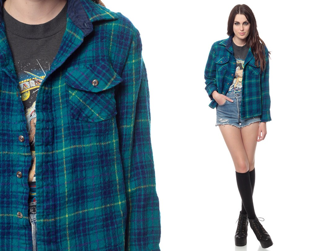 Wool plaid shirt 90s blue green checkered turquoise button for Womens green checked shirt