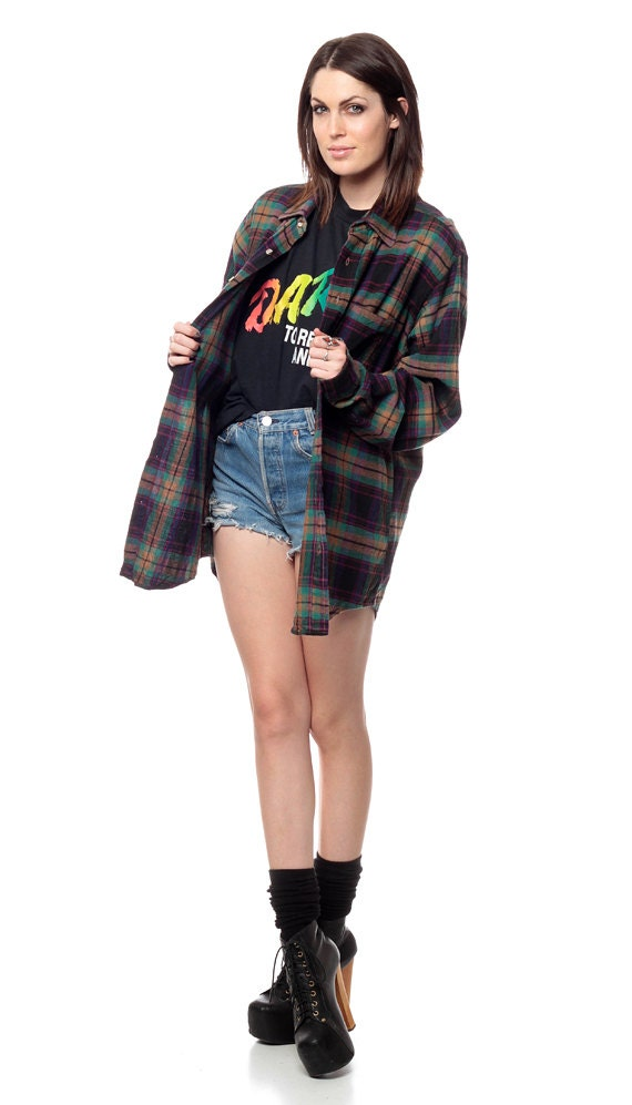 90s Flannel Shirt Long Plaid Oversized Grunge Long Sleeve Up