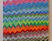 Art Painting Abstract Chevron Original Textured Acrylic 10x8 Canvas Panel Beautiful Colors and Texture
