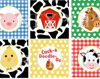 "Digital Farm Birthday, Cupcake Toppers, 2"" circles,   Farm Party  Decoration, Barnyard party,  Printable  INSTANT DOWNLOAD"