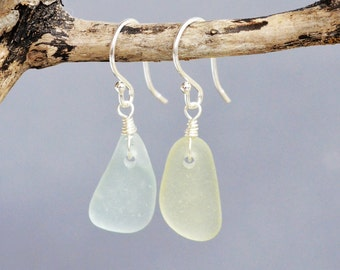 Sea Glass Sterling Earrings - Sterling Silver Wire Wrapped Dangle, simple for everyday, GENUINE sea glass