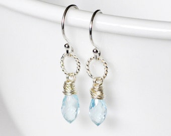 Sky Blue Topaz Earrings, Sterling Silver wire wrapped - micro faceted briolette, simple everyday dangle, December Birthstone, raindrop