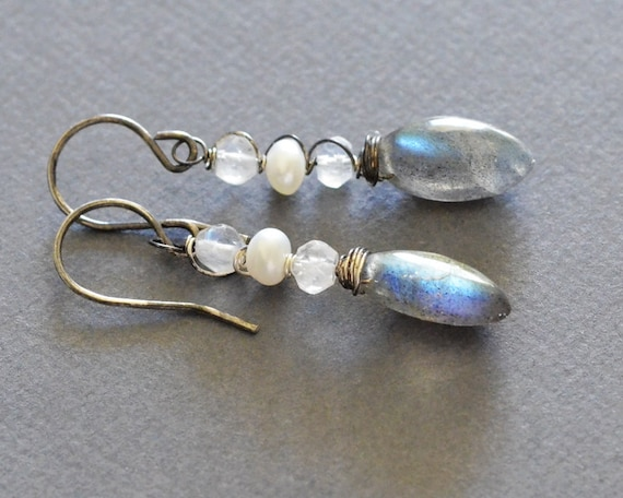 Labradorite and Rainbow Moonstone Oxidized Sterling Silver Earrings - freshwater pearl, wire wrapped gemstones