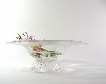 Vintage Glass Pedestal Bowl Etched Orchid Flowers Heisey