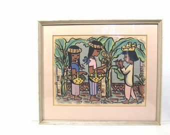 Colorful Vintage Art Framed Lithograph Print Children Fiesta Mid Century